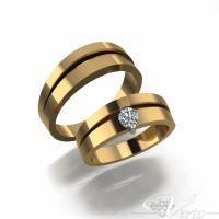 7. 14Krt. Geelgouden trouwringen met 0.25ct diamant. Paar 1950,-