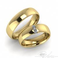 9. Geelgouden trouwringen met diamant. Paar 1195.-