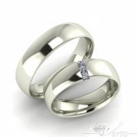 10. Witgouden trouwringen met diamant. Paar 1195.-