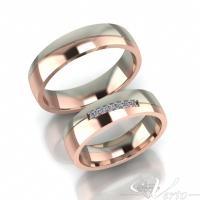 13. Wit/Rosé trouwringen met diamant. Paar 1395.-