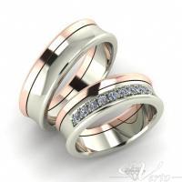 14. Wit/Rosé trouwringen met diamant. Paar 1850,-