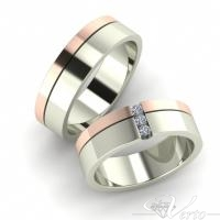 17. Wit/Rosé trouwringen met diamant. Paar 1395.-