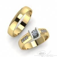 19.Geelgouden trouwringen met diamant. Paar 1740.-