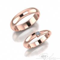 26. Roodgouden trouwingen met diamant. Paar 950.-
