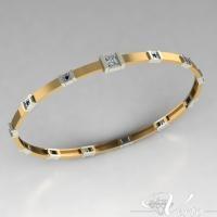 Bicolor gouden armband met diamant en saffier op verzoek klant gemaakt